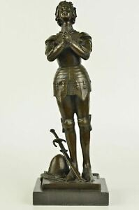 French Hero Saint St Joan of Arc Christian Collectible Bronze Marble Statue Art