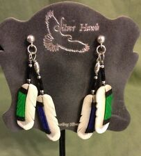 Silver Hawk Hand Crafted Earrings Bone Feather Mallard Duck Double Feathers