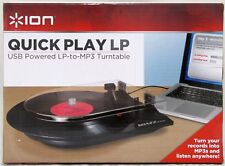 ION Quick Play LP Turntable USB Powered LP-to-MP3 Converter Recorder Brand New