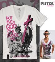 Pistol Boutique men's Fitted White Deep V neck NOT EVEN GOD JUDGE ME T-shirt