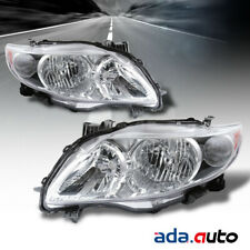 For 2009-2010 Toyota Corolla Chrome Headlights Replacement Lamps Left/Right Set