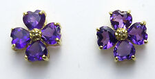 14K Yellow Gold Amethyst and diamond Clover Earrings 1.44 ct.