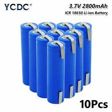 Batería recargable de 18650 10X 3.7V Li-Ion 2800mAh con fichas para LED Linterna