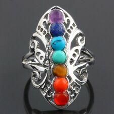 7 Chakra Point Healing Stone Gem Stones Hollow Butterfly Adjustable Finger Ring