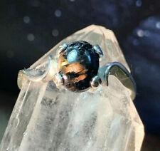 Rare Ancient Nuummite Nuummit Spiritual Protection Crystal Ring .925 Greenland