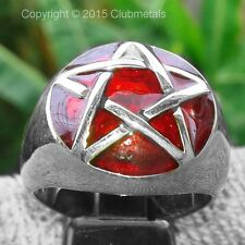 Men's Pentagram Ring Solid HEAVY Sterling Silver Ruby Red Enamel Wicca Size 10