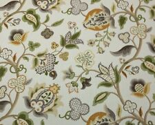 """P KAUFMANN  PIED A TERRE VANILLA D4178 LARGE JACOBEAN FLORAL FABRIC BY YARD 54""""W"""