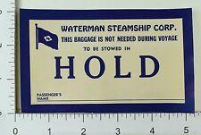 1930's-40's Waterman Steamship Corp Luggage Label Vintage Original E7