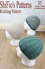 KNITTING PATTERN for 3 MENS HATS, BEANIES, CABLE #310 NOT CLOTHES