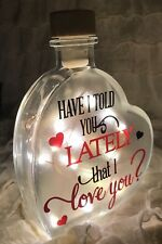 "LED 6"" Glass Light Up Heart Bottle Have I Told You Lately Love Lamp Gift Couples"