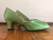Antique 1930s Poison Apple Green Silk Satin Slippers Shoe Daniel Green Boudoir