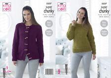 Tejer patrón Chicas fácil de Punto Cuello Cárdigan /& Jersey grueso kingcole 4970