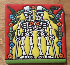 "Talavera Mexican tile 4"" Day of  the Dead high relief Gay Wedding Men 2 Grooms"