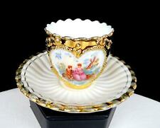 """GERMAN PORCELAIN HEART CAMEO HEAVY GILT 2 1/4"""" DEMITASSE CUP AND SAUCER 1940's"""