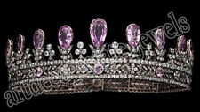 24.66ct ROSE CUT DIAMOND AMETHYST ANTIQUE VICTORIAN LOOK 925 SILVER TIARA