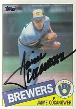 1985 Signed Topps #576 Jaime Cocanower Brewers Autograph Pitcher