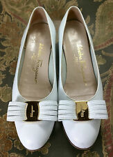 Salvatore Ferragamo Boutique Vara Bow Shoes Leather 6.5 AA Niccola Flats White