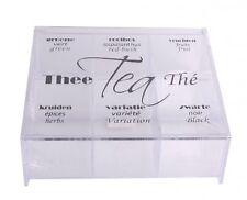 Teedose Teebox 6 Fächer Acryl transparent mit Deckel und Beschriftung