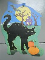 Vintage EUREKA Halloween Decoration CUTOUT DieCut BATS, MOON, BLACK CAT