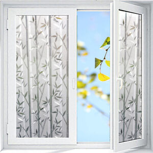 PVC Privacy Window Film Bamboo Frosted Glass Sticker Static PVC 3D Art Decor