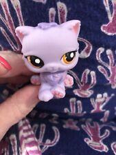 Littlest Pet Shop Purple Cat kitty Persian pretty pastel ,orange eyes #1771