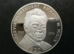 2000 Republic of Liberia Richard M. Nixon $20 Silver Coin A2443