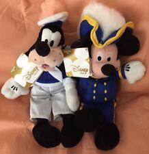 Disney Store Admiral Mickey & Sailor Goofy Mini Bean Bag Plush NEW