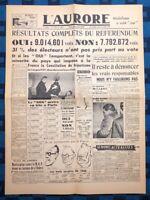 La Une Du Journal L'aurore 14 Octobre 1946 Résultats Référendum IV République