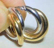 A FINE PAIR OF 9CT 9 CARAT YELLOW WHITE GOLD OVAL TWISTED HOOP CREOLE EARRINGS