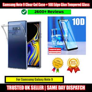 Samsung Galaxy Note 9 Clear Gel Case + 10D Edge Glue Tempered Glass