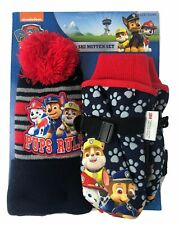 Paw Patrol Boys XS Thinsulate Hat Beanie and Ski Mitten Snow Winter Set - NEW!