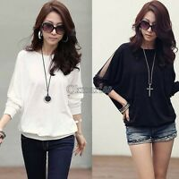 Sexy Women's Ladies Batwing Blouse Tops T-Shirt Dolman Lace Sleeves OK