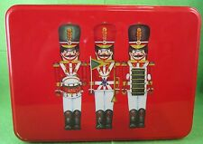 "6.25"" x 2.25"" Three Nut Cracker Red Christmas Candy Greenbrier, Int'l.Tin"