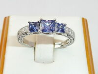 Ladies Sterling 925 Fine Silver 3 Stone Tanzanite & White Sapphire Eternity Ring