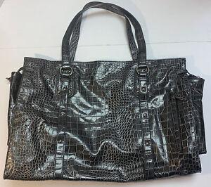Black Rivet Faux Leather Croc Tote Bag Large Jumbo Shopper Gunmetal Gray Purse