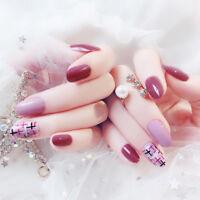 24x Uñas postizas Rosadas acrílicas cubierta completa decoración manicura