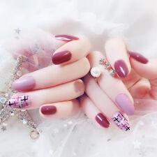 24pcs pink fake nails art tips acrylic nail false full cover manicure decor*CN