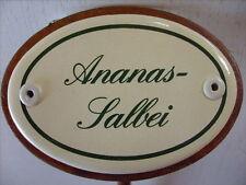 Kräuterschild Kräuterstecker Pflanzschild Emaille Emailschild Ananas-Salbei 25cm
