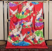 Japanese Kimono Robe Dress Cardigan Jacket Flying Crane Uchikake Red Blue N790