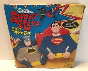 1977 Wilton Mego Era Superman Batman Cake Pan Boxed Clean Complete Figure Shaped