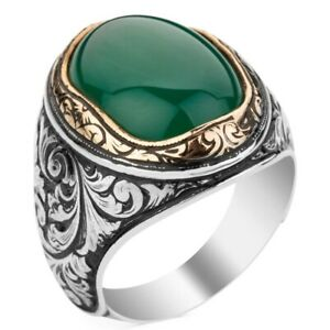 Solid 925 Sterling Silver Green Agate Stone Turkish Men's Ring