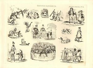 1840 VICTORIAN PRINT ~ OMNIUM GATHERUM 2nd No 3 HENRY HEATH CARICATURES CARTOONS
