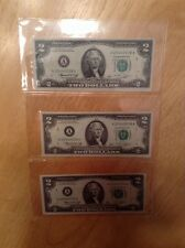 1976 THREE $2 US bills With Consecutive Serial Numbers