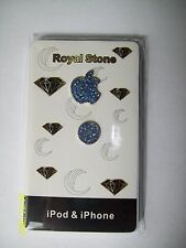 iphone BLUE  Diamond JEWELLED, Button & Logo Sticker x 1  For iPhone 5/3/4/4S