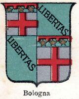 Bologna: Piccolo Stemma del 1901. Cromolitografia. Stampa Antica + Passepartout.