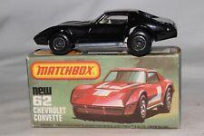 MATCHBOX SUPERFAST #62 CHEVROLET CORVETTE, BLACK, UNPAINTED BASE, NICE, BOXED