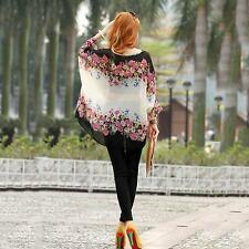 Sexy Women T- Shirt Color Floral Batwing Long Sleeve Chiffon Tops Casual Blouse