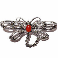ART NOUVEAU STYLE RED CORAL AND MARCASITE DRAGONFLY BROOCH 925 STERLING SILVER
