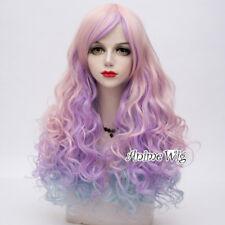 "Rainbow Hot 26"" Multi Colour Lolita Style Curly Anime Cosplay Hair Wig Halloween"