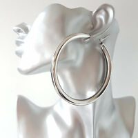 Gorgeous! HUGE! SILVER tone CHUNKY oversized plain shiny hoop earrings * NEW *